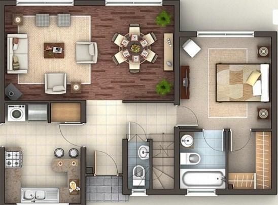 Plano de casa de tres pisos y 4 dormitorios