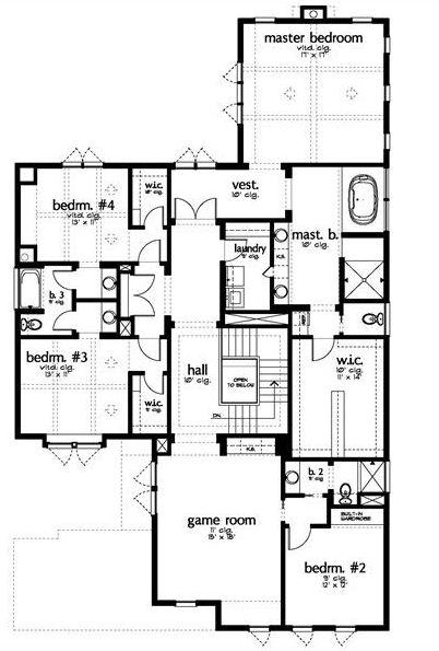 Plano de casa moderna con sala de juegos for Planos de casas de una planta 4 dormitorios