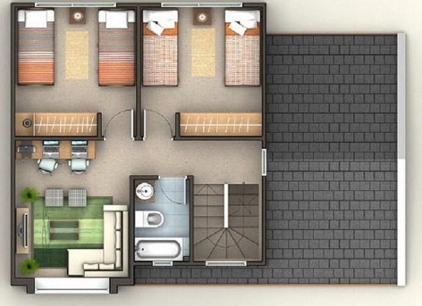 Plano de casa de tres pisos for Parrillas para casas modernas