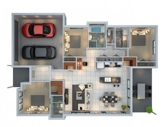 Plano de casa en 3d for Planos de viviendas modernas