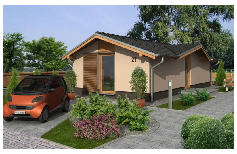 fachada de casa rectangular