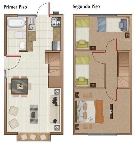 Modelo de planos para terrenos de 90 mts cuadrados con dos for Modelos de planos de casas