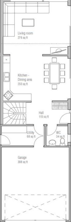 Plano de casa moderna con ventanas amplias