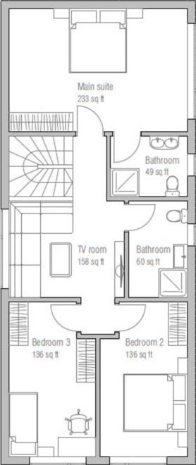Plano de casa moderna con ventanas grandes