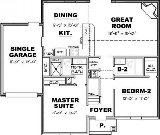 Planos de casas de un piso con 2 dormitorios