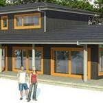 Plano de casa moderna con ventanales