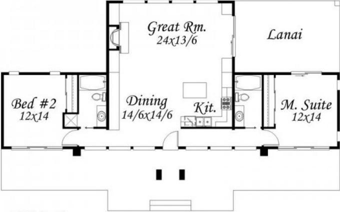 casas de una planta 2 dormitorios