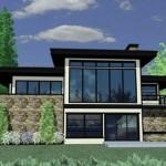 Plano de casa moderna con cochera doble