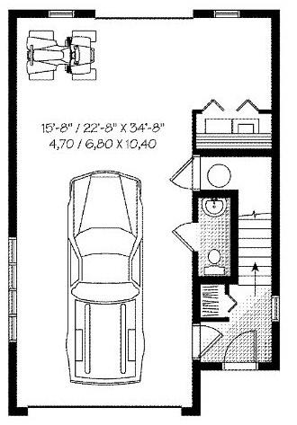 Plano de casa de dos dormitorios con cochera en la planta baja