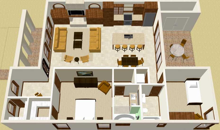 Plano de casa de estilo colonial en 3d