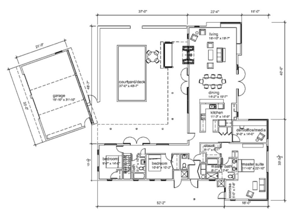 Modelo de casa grande de 230 metros cuadrados y 2 pisos