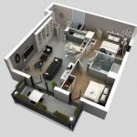 Modelo de departamentos de 2 dormitorios