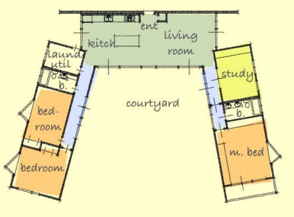 Plano de casa con forma de u for Casas en ele planos