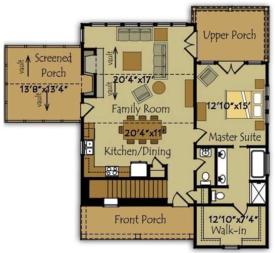 Plano de casa con terminaciones irregulares en dos pisos