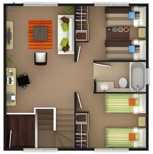 Plano de casa moderna de dos pisos y 4 habitaciones for Planos de casas de 2 pisos