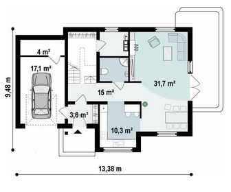 planos de casas 9×8