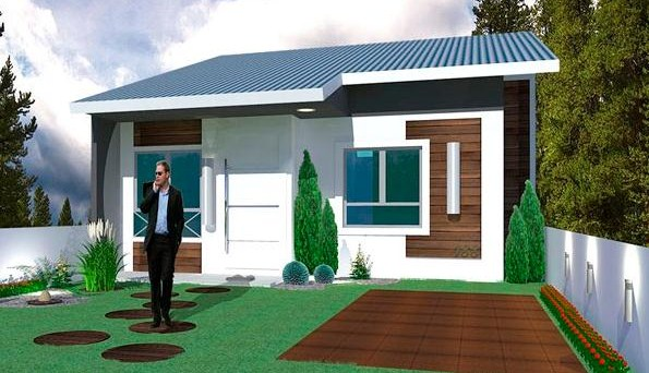 Plano de casa sencilla de 2 dormitorios en un mismo nivel