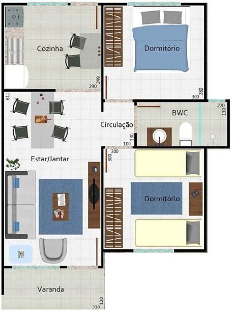 Plano de casa sencilla de 2 dormitorios en un piso