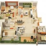 Plano de departamento de 4 habitaciones y 4 baños