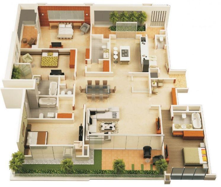 Planos casas de 4 dormitorios for Planos de casas de una planta 4 dormitorios