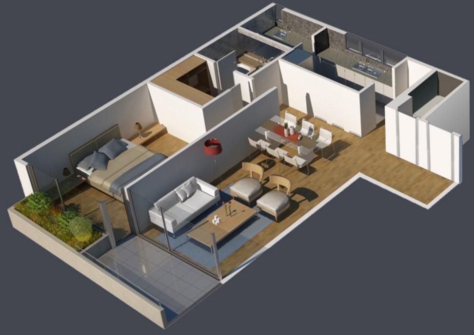 Plano moderno de 1 habitación en 3D