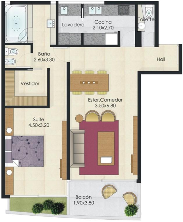 Plano moderno de 1 habitación