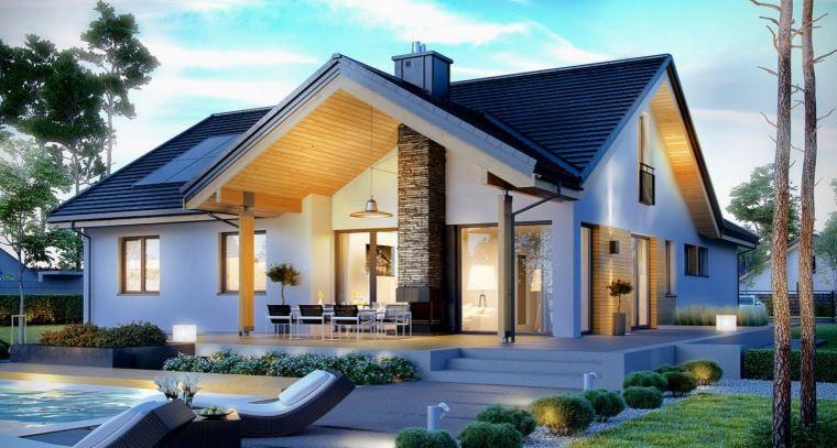 plano de casa de un piso con cochera doble
