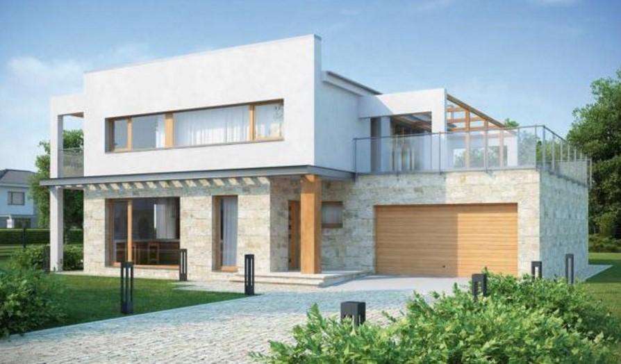 Casa con balcón moderno