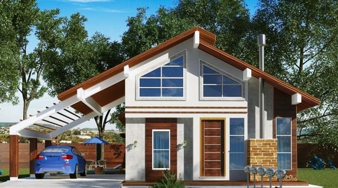 Fachada de casas de 2 pisos con pileta