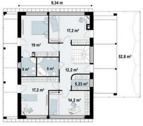 Plano de casa con balcón moderno