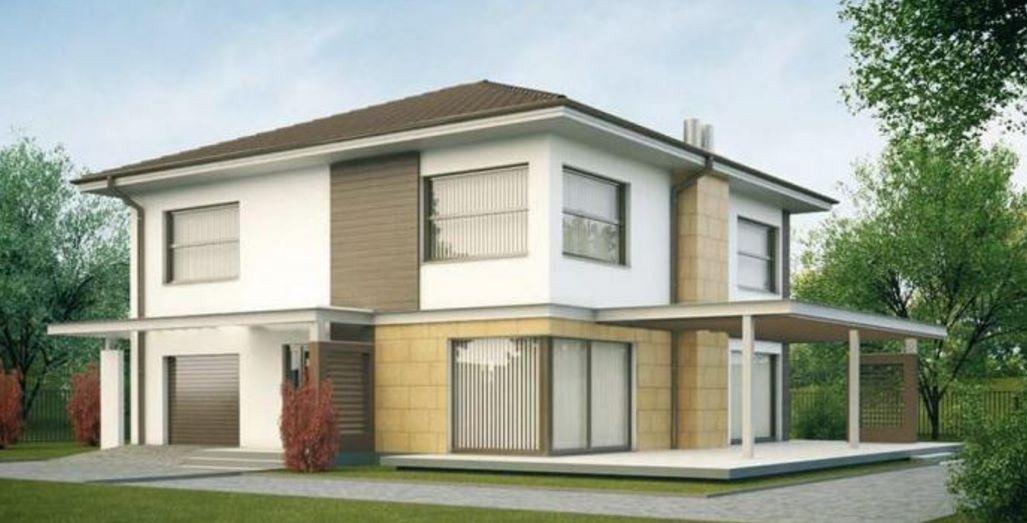 Plano de elegante casa moderna