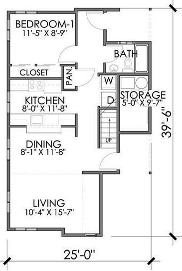 Plano de casa de 7 x 12 m
