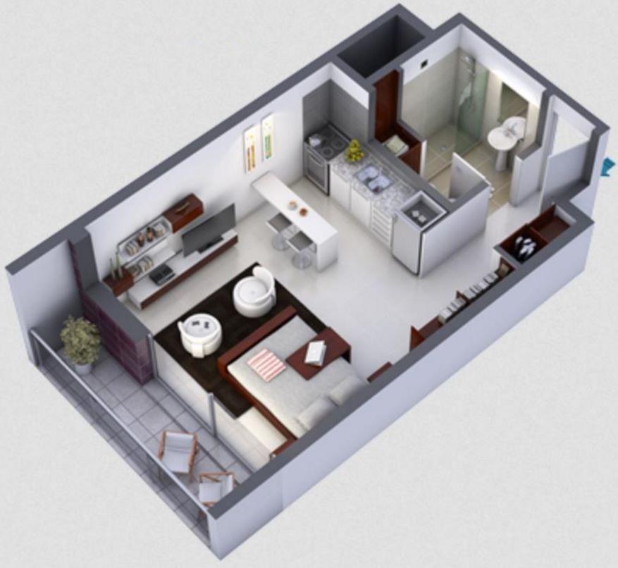 Planos de monoambientes for Planos de cocina en 3d