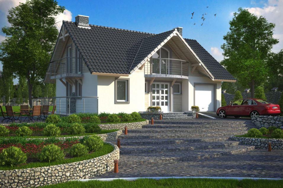 Casas con balcon y chimenea