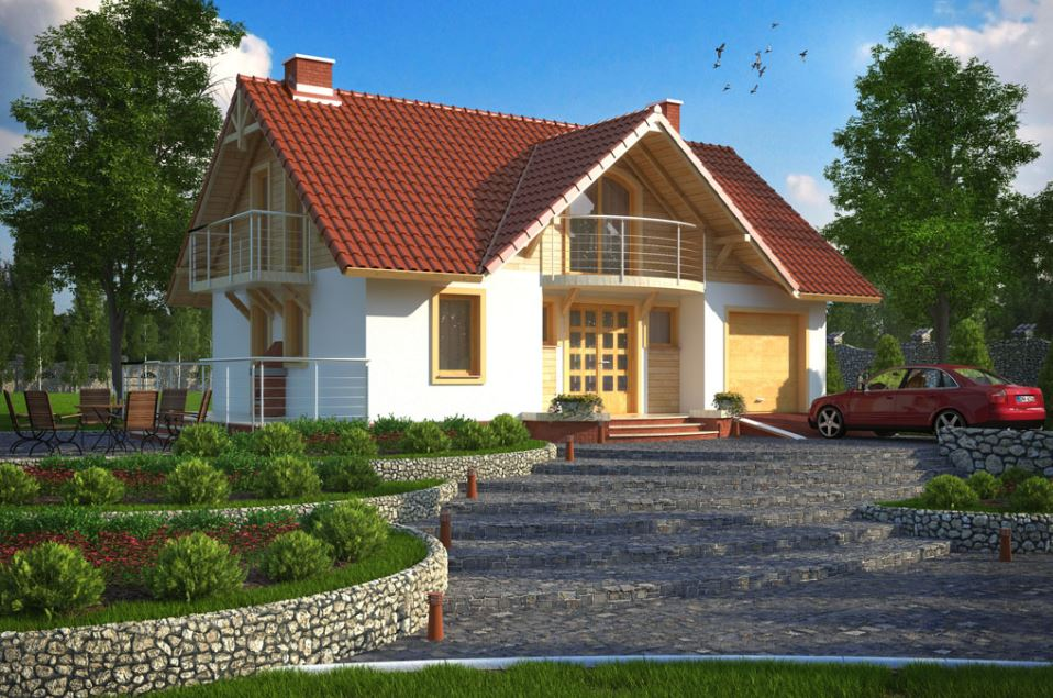 Fachadas de casas con balcon y chimenea