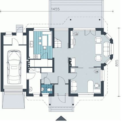 Plano de casa de dos pisos de 14 x 9 metros