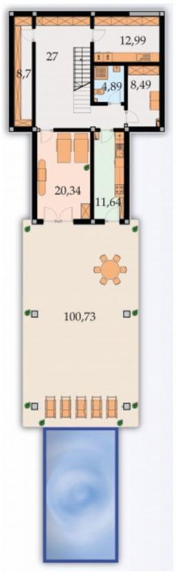 Plano de casa pileta con diseño moderno planta alta