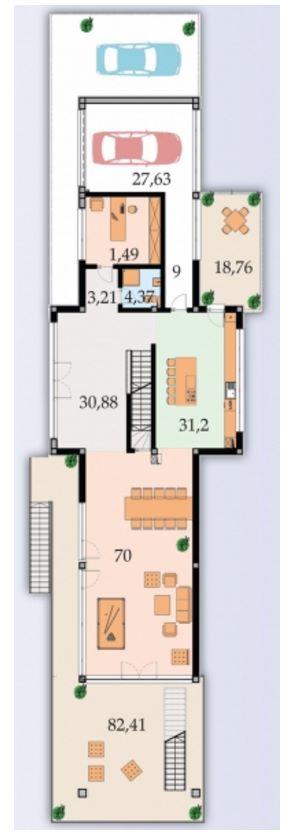 Plano de casa pileta con diseño moderno