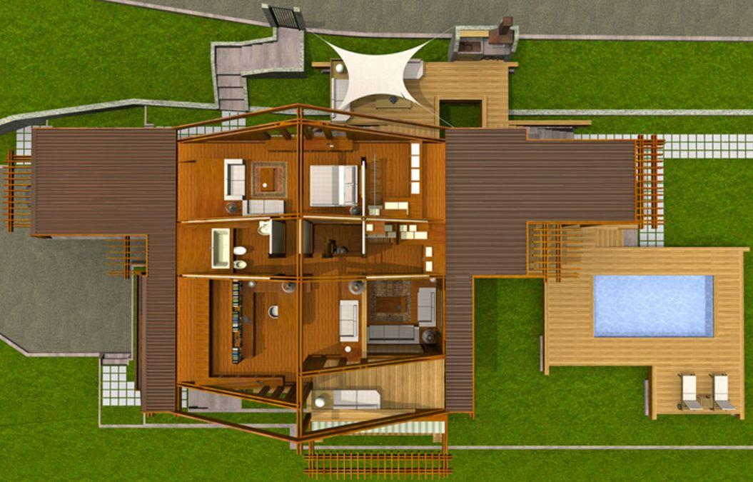Plano de chalet de 250 metros cuadrados con piscina
