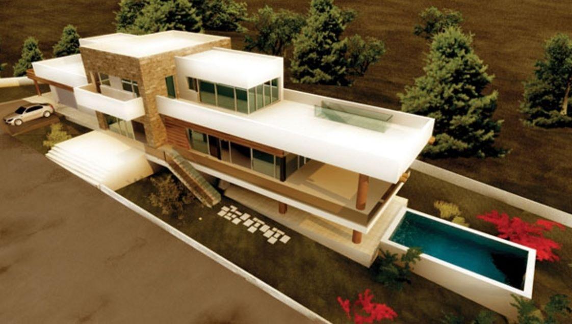 Plano de casa pileta con dise o moderno for Diseno de entradas principales de casas