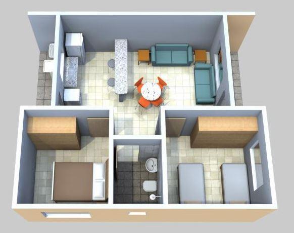 Planos casas de 2 dormitorios planos de casas for Viviendas pequenas
