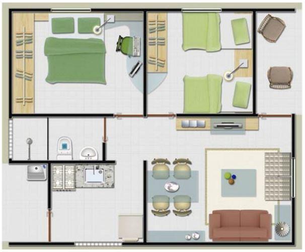 Dise os 42 metros cuadrados for Diseno de apartamento de 4x8 mts