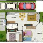 Plano de casa pequeña de 2 habitaciones