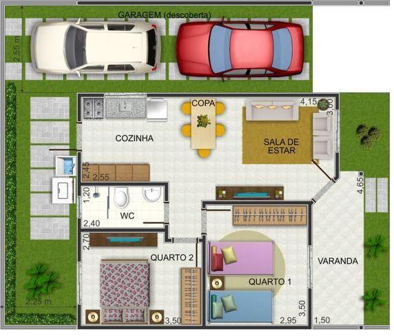Plano de casa peque a de 2 habitaciones for Planos para remodelar mi casa
