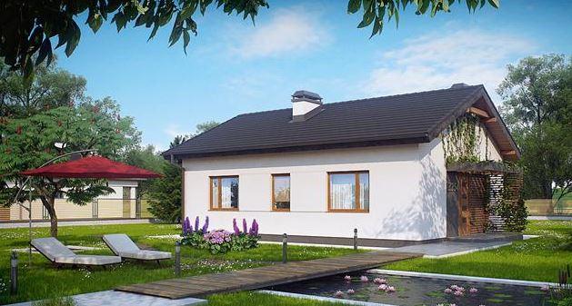 Casa con techo de chapa simil teja