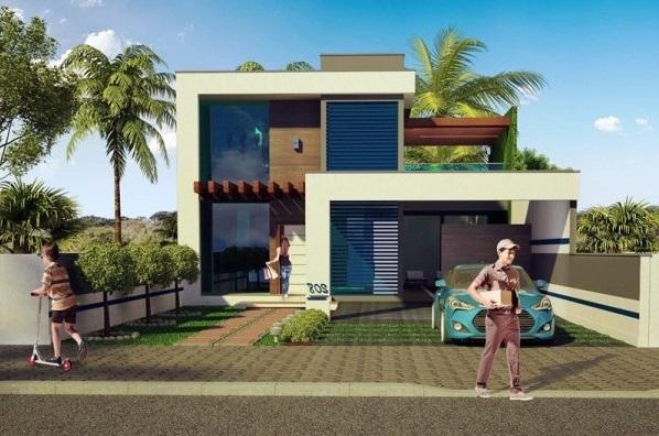 Fachada de casa bonita de dos pisos con vidrios