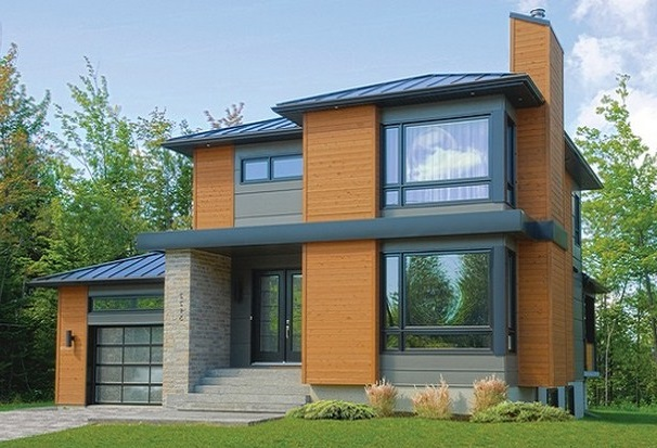 Fachada de casa moderna de dos pisos con vidrios