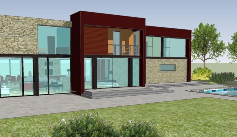 Fachada de dos pisos con vidrios