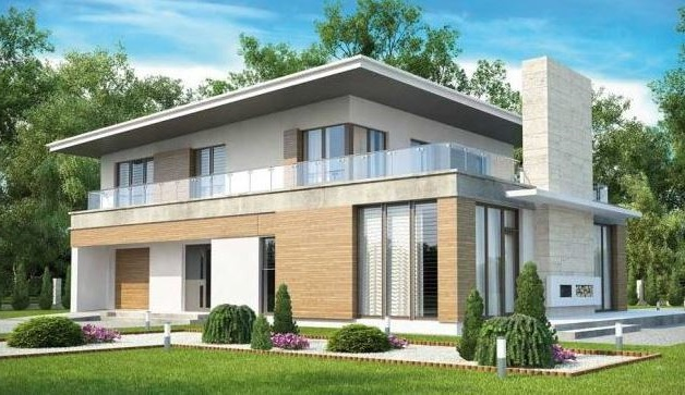 Fachadas modernas dos pisos con vidrios
