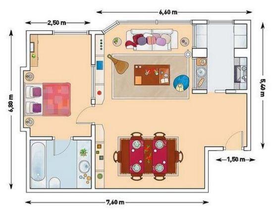 Planos con medidas para departamento de 50 metros cuadrados